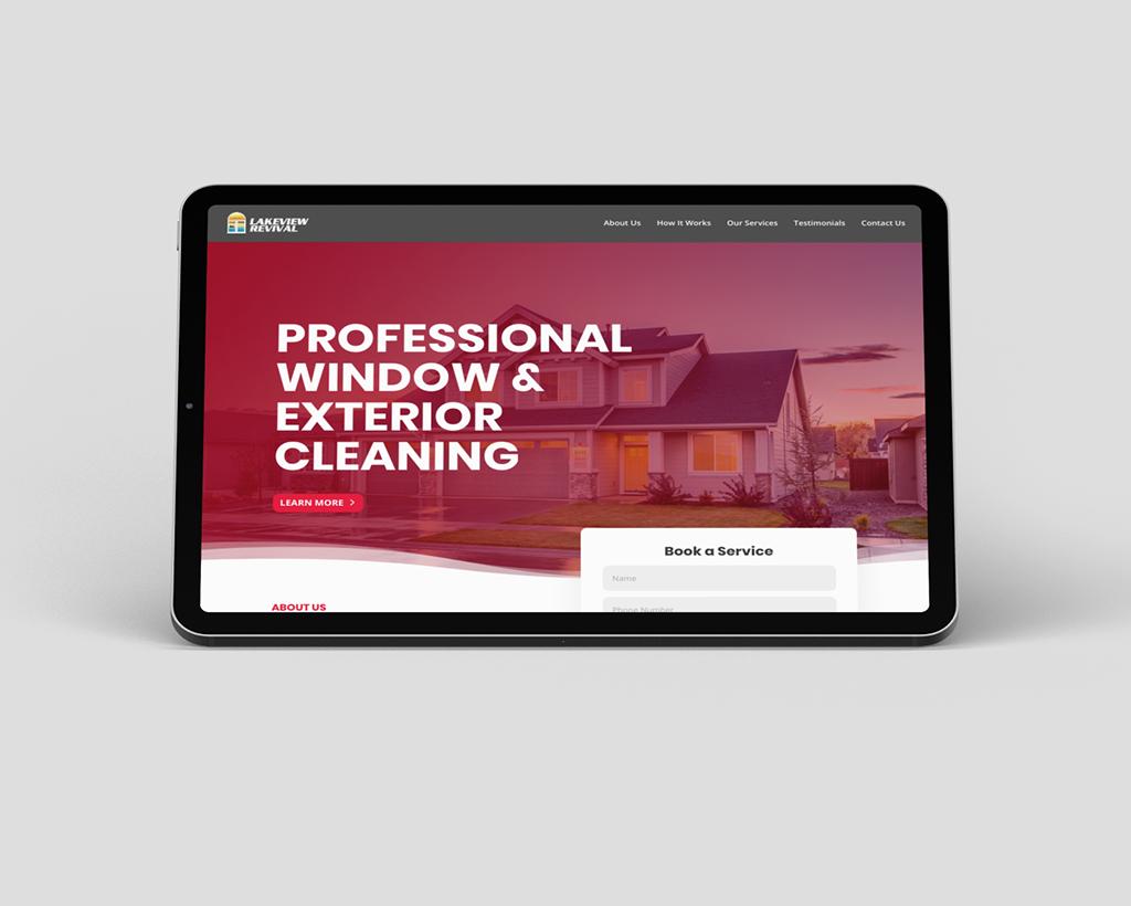 Window cleaning website mockup on iPad