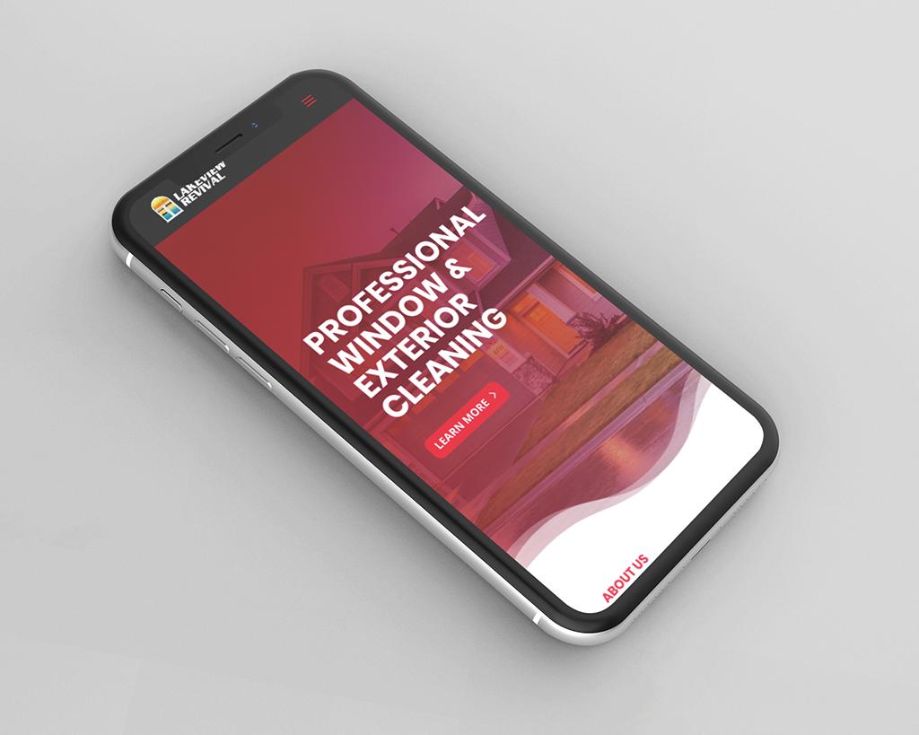 Website design mockup on iPhone